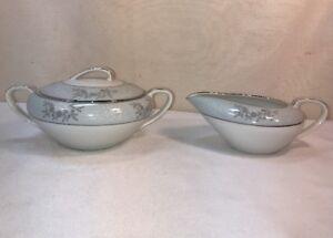 Vtg-2pc-1950-s-Noritake-Blue-Ridge-Creamer-amp-Stratford-Pattern-Sugar-Bowl-W-Lid