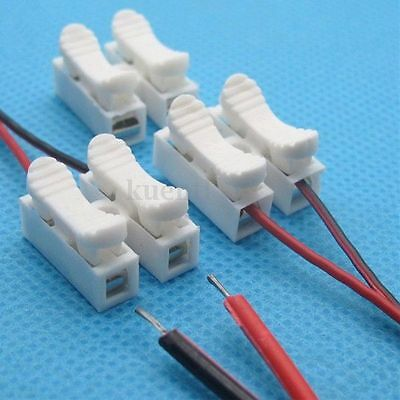 1-20pcs 2P Spring Connector Wire Clamp Terminal Block No Welding For LED Strip