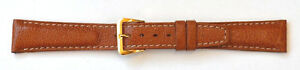 15mm-FLEURUS-GENUINE-BUFFALO-TAN-PADDED-STITCHED-LEATHER-WATCH-BAND-SHORT