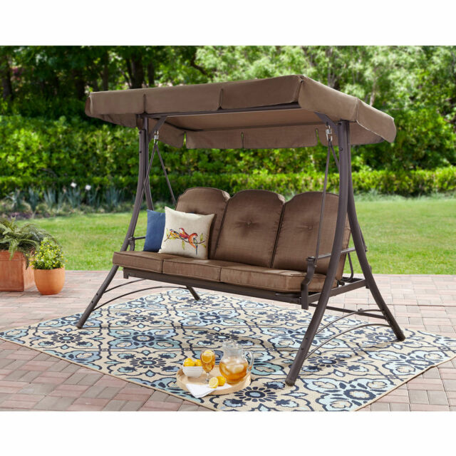 Outdoor Patio Swing 3 Person Canopy Padded Seats Furniture Backyard