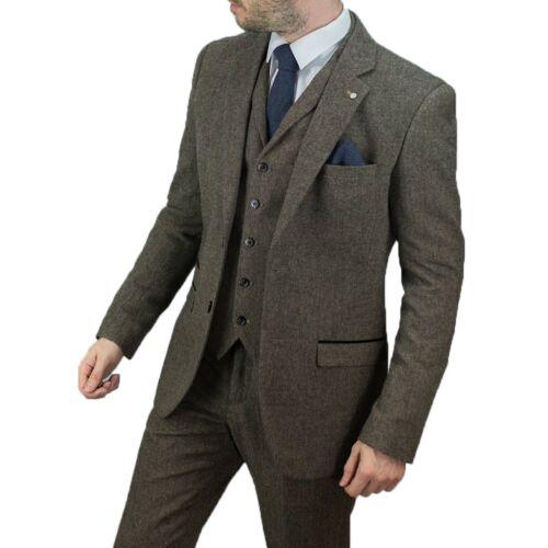 Wedding Tailored blu Marrone Blinders pezzi Fit Mens Peaky Wool Herringbone Tweed Suit 3 qwxfOf