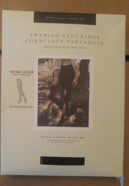 3ad1fe07b Swedish Stockings ASTRID FISHNET SHEERS Luxury Black Pantyhose Micro-net  Nylons