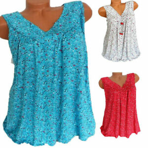 Womens-Plus-Size-Summer-Loose-Sleeveless-Vest-T-Shirt-Blouse-Lady-Boho-Lace-Tops