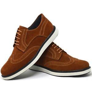 Mens-Casual-Brown-Suede-Smart-Designer-Brouges-Party-Summer-Wedding-Grey-Shoes