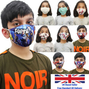 Kids Boys Girls Face Mask Washable Reusable School Protective Fortnite Tiktok Uk Ebay