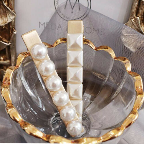 Fashion Women White Pearl Geometry Crystal Hairpin Hair Clips Hair Accessories
