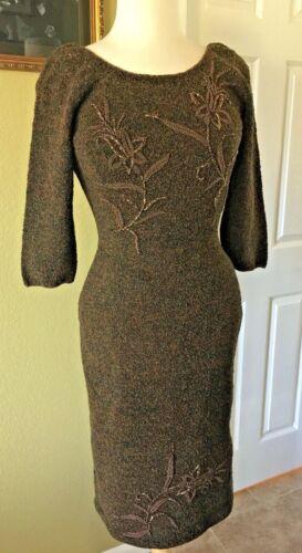 Vintage 60s Gene Shelly hand beaded knit dress bro