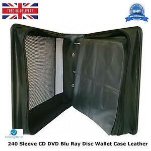 10-x-240-manica-CD-DVD-BLU-RAY-DISC-titolare-Wallet-Borsa-Custodia-di-trasporto-di-stoccaggio-in