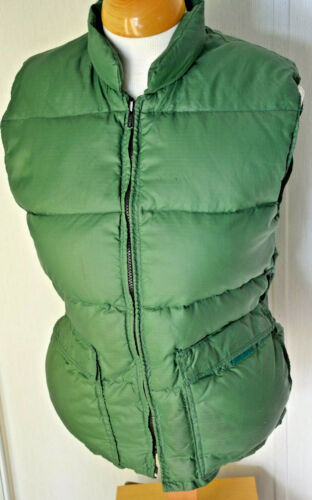 Vtg 1970s Frostline Kit Green Down Puffer Vest Rip