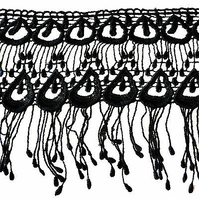 """Kiddo 6.5"""" White Black Peacock Feather Pattern Venice Lace Fringe Trim by Yard"""
