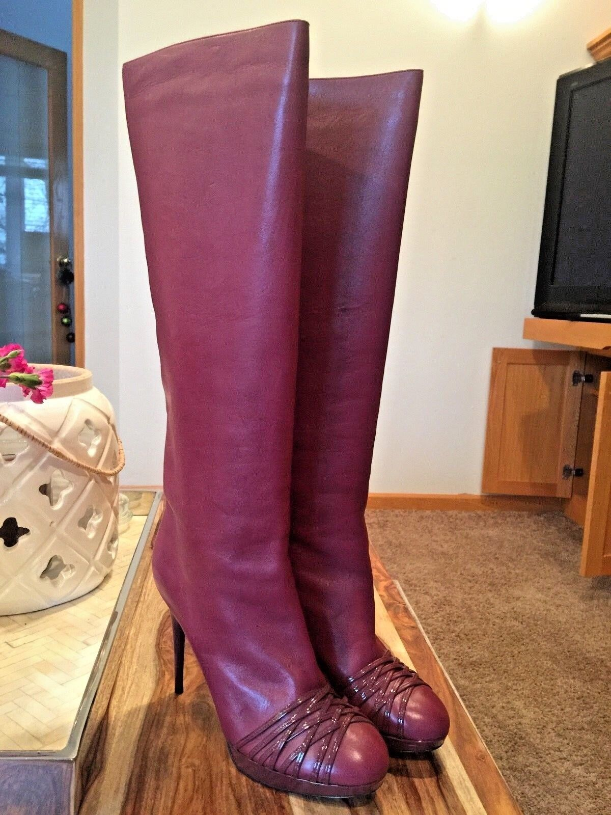 Authentic Dior Burgundy Knee-High Heels Heels Heels Boots 38.5 7d80b9