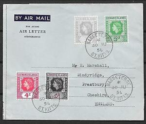 Leeward Islands covers 1956 AIR LETTER BASSETERRE/St.Kitts