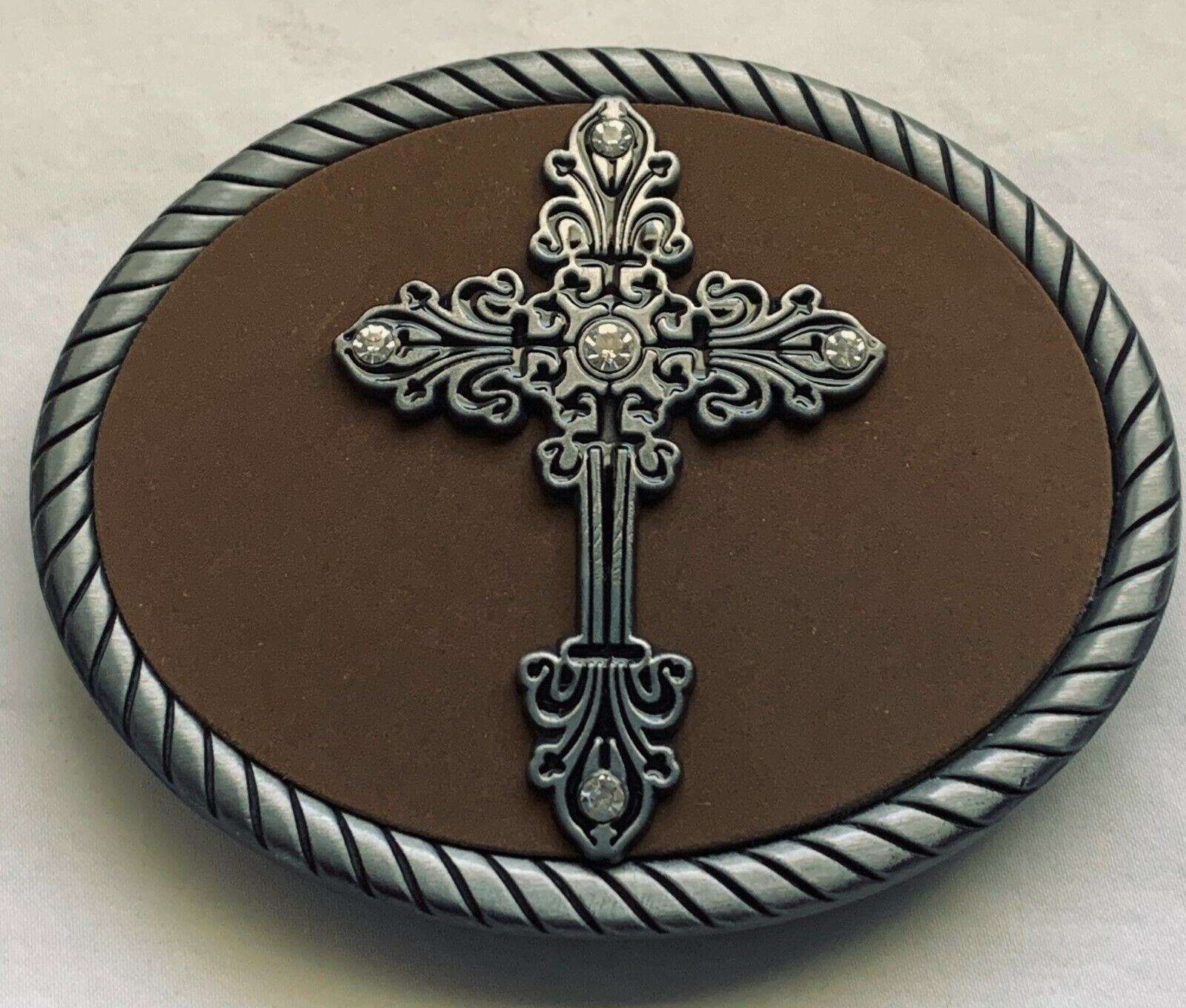 BELT BUCKLES Rhinestone Cross on Brown Suede Rope Edge Gray Oval Religious NWOT!