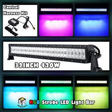 "32""inch 420W CREE RGB LED Light Bar Strobe Flash Multi Color Halo Ring 30""35""50"""