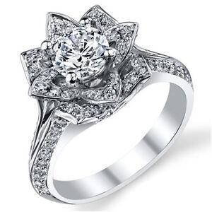 242ct White Round Cut Diamond Lotus Flower Engagement Wedding Ring
