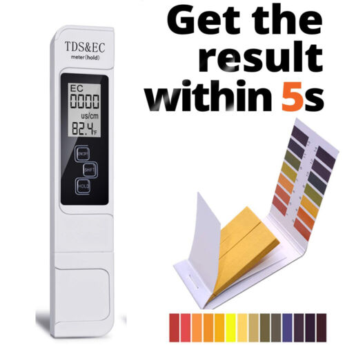 Digital TDS/& EC Meter LCD 0-9999 PPM With PH Indicator Test Strips Water Quality