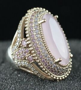 925-Sterling-Silver-Handmade-Antique-Turkish-Quartz-Ladies-Ring-Size-7-9