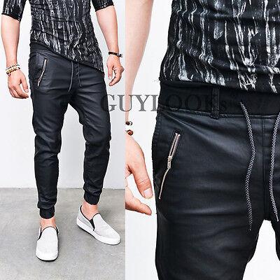 Coated Faux Leather Slant Zip Mens Black Slim Baggy Jogger Sweatpants Guylook