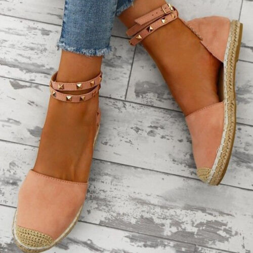 Womens Ladies Flat Peep Toe Sandals Espadrilles Summer Holiday Pumps Shoes Size