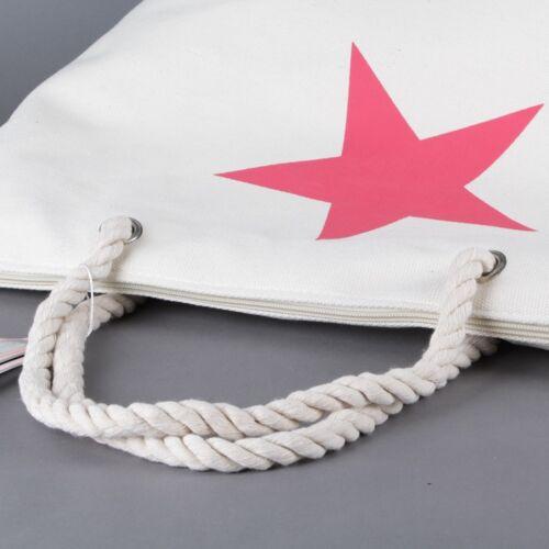 Stern Hand Schulter Beutel Bade Strand Einkaufs Tasche Canvas Stoff Shopper NEU