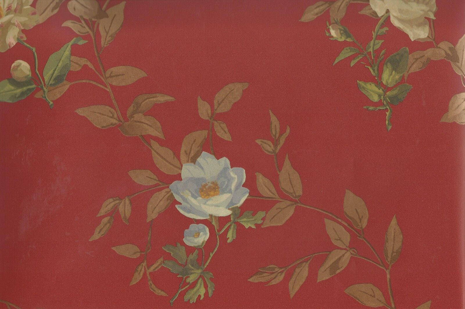 Wallpaper Designer Large Floral Toss On Brick Red Green Blue
