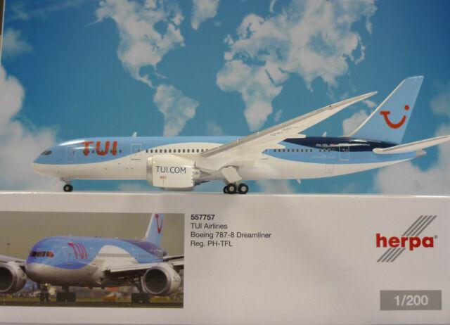Herpa Ali 1:200 Boeing 787-8 Dreamliner Tui Airlines Ph-Tfl 557757
