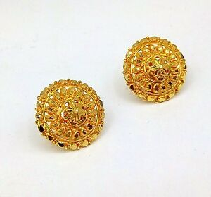 Image Is Loading 22k Yellow Gold Handmade Earring Tops Indian Women