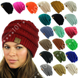 dff9a087f0226 CC Beanie New Womens Knit Slouchy Oversized Thick Cap Hat Unisex ...
