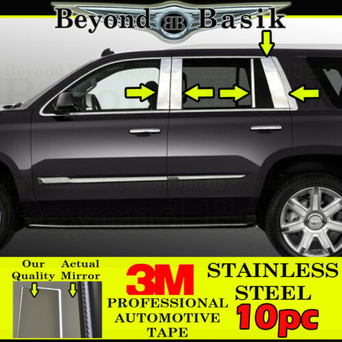 2015 16 17 18 2019 Chevy Tahoe 10pc STAINLESS STEEL Pillar Posts Trims Overlays