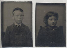 SET OF TWO MINIATURE TINTYPES PORTRAITS OF BROTHER AND SISTER