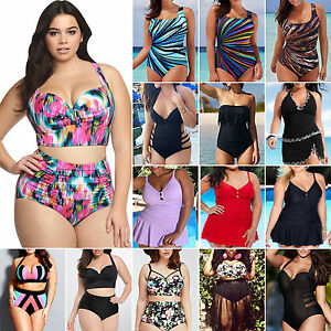 Plus-Size-Womens-High-Waist-Bikini-Sets-Push-Up-Swimsuit-Swimwear-Bathing-Suits
