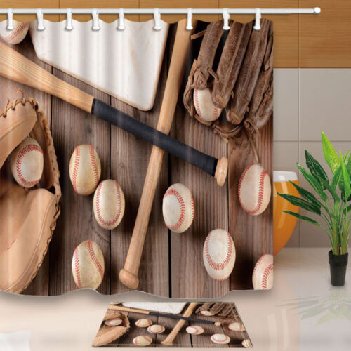 Baseball bat Polyester Fabric Shower Curtain Hooks Set Bathroom Liner 71*71inch