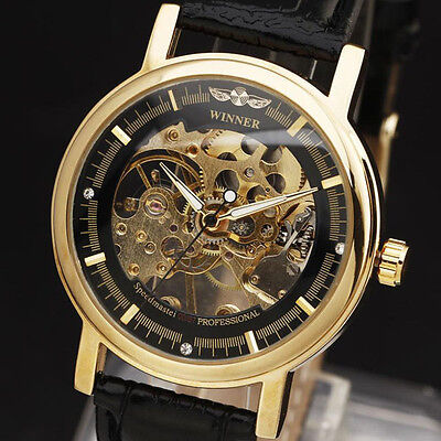 Winner Stainless Steel Skeleton Leather Watch - New
