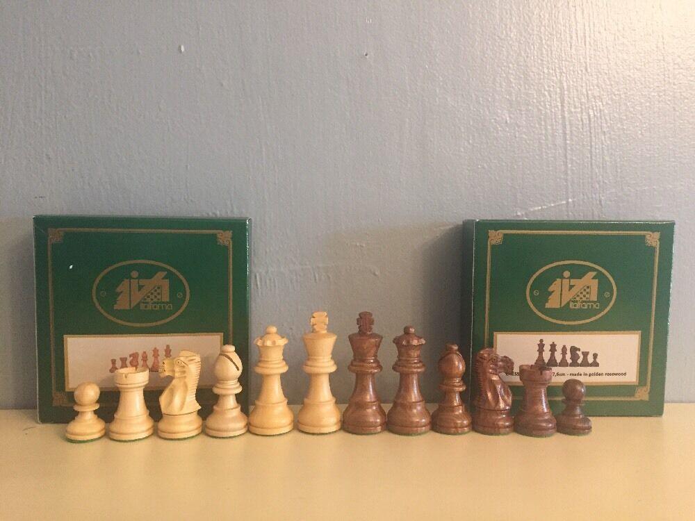 Italfama NIB Chess Men golden pinkwood RARE  King Ht 7.6 cm. Vintage