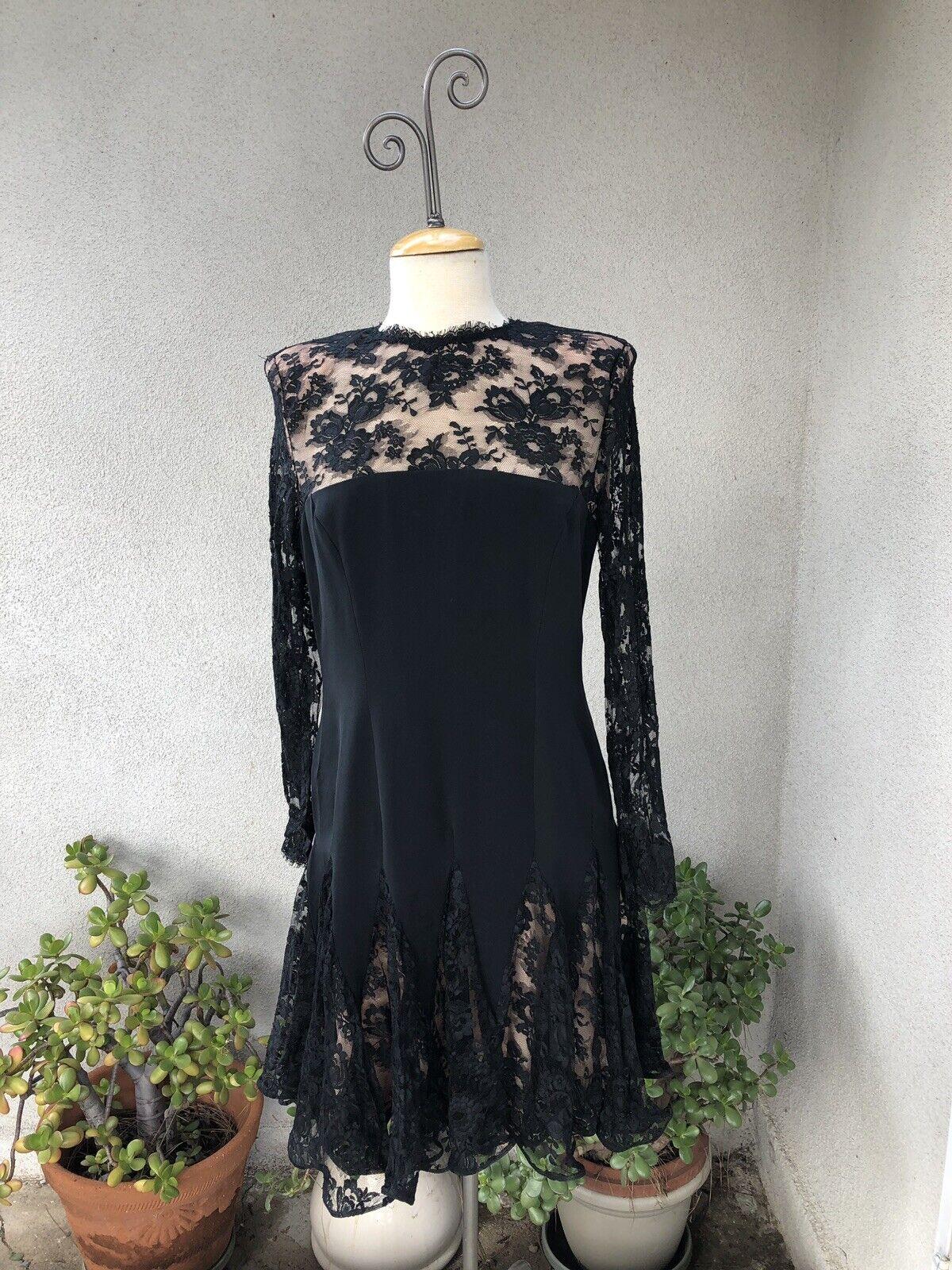 Vintage Black Lace Ruffle Cocktail Dress Travilla… - image 1