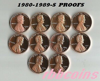 COMPLETE SET 1980-1989-S PROOF LINCOLN MEMORIAL CENTS