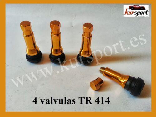 4 VALVULAS NEUMATICOS TUBELESS TUNNING DORADA TR 414 LLANTAS RUEDAS COCHES