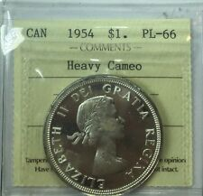 1954 Canadian Silver One Dollar Coin ICCS Graded PL-66 Heavy Cameo