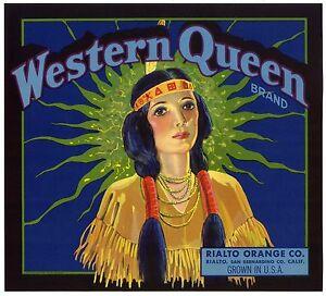 WESTERN QUEEN (INDIAN) ORIGINAL 1920s RIALTO CALIFORNIA ORANGE FRUIT CRATE LABEL