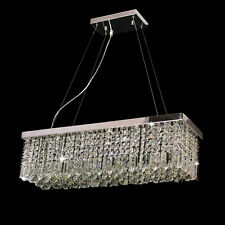 Rectangle K9 Crystal Dining Room Light Fixture Polished Chrome Finish Chandelier
