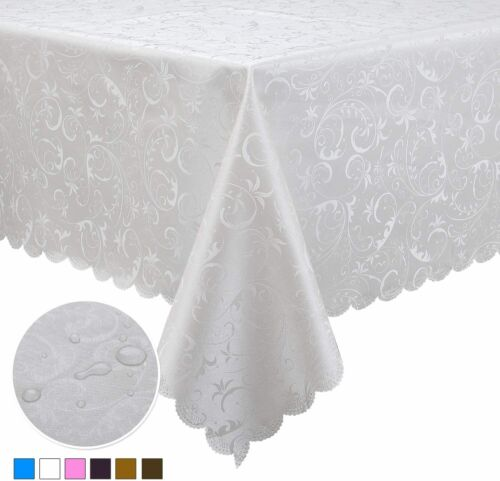 Locika Washable Vinyl Tablecloth Easy Care Dinning Tablecloth Rectangle Heavy Du