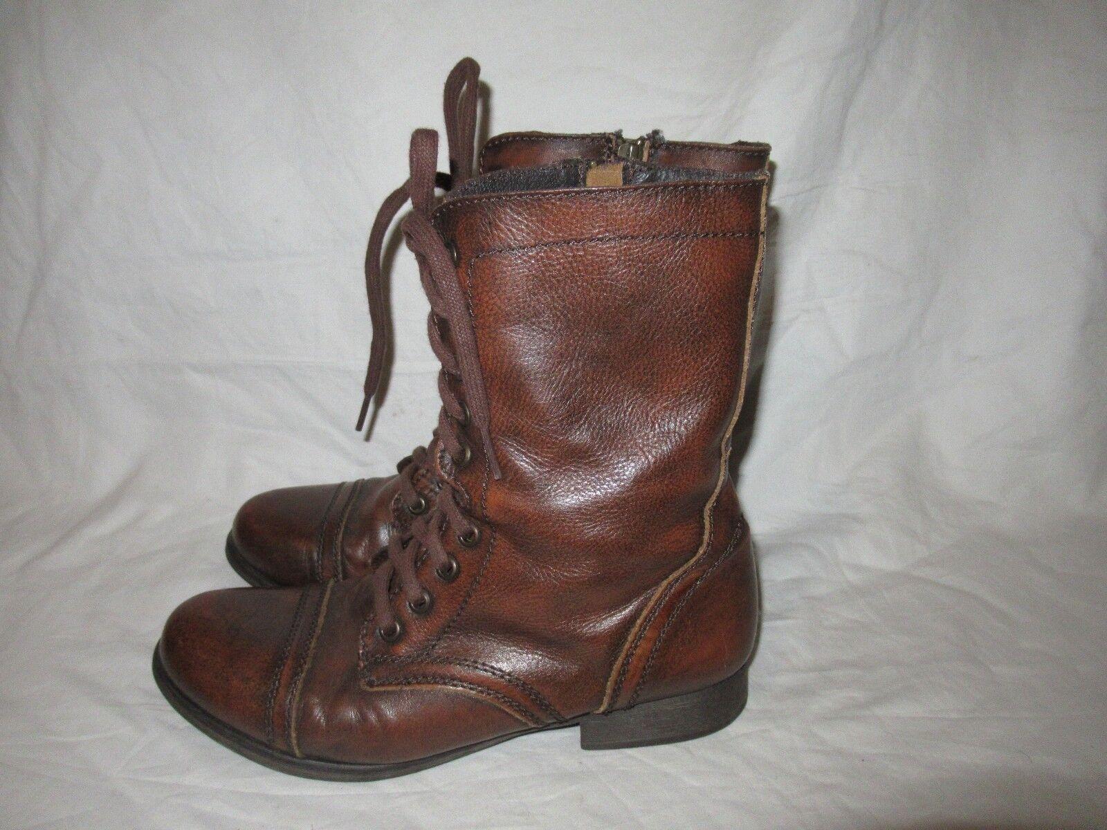 Steve Madden Größe Troopa Größe Madden 8M Combat Stiefel genuine Leder Braun Good Condition a1bbfe