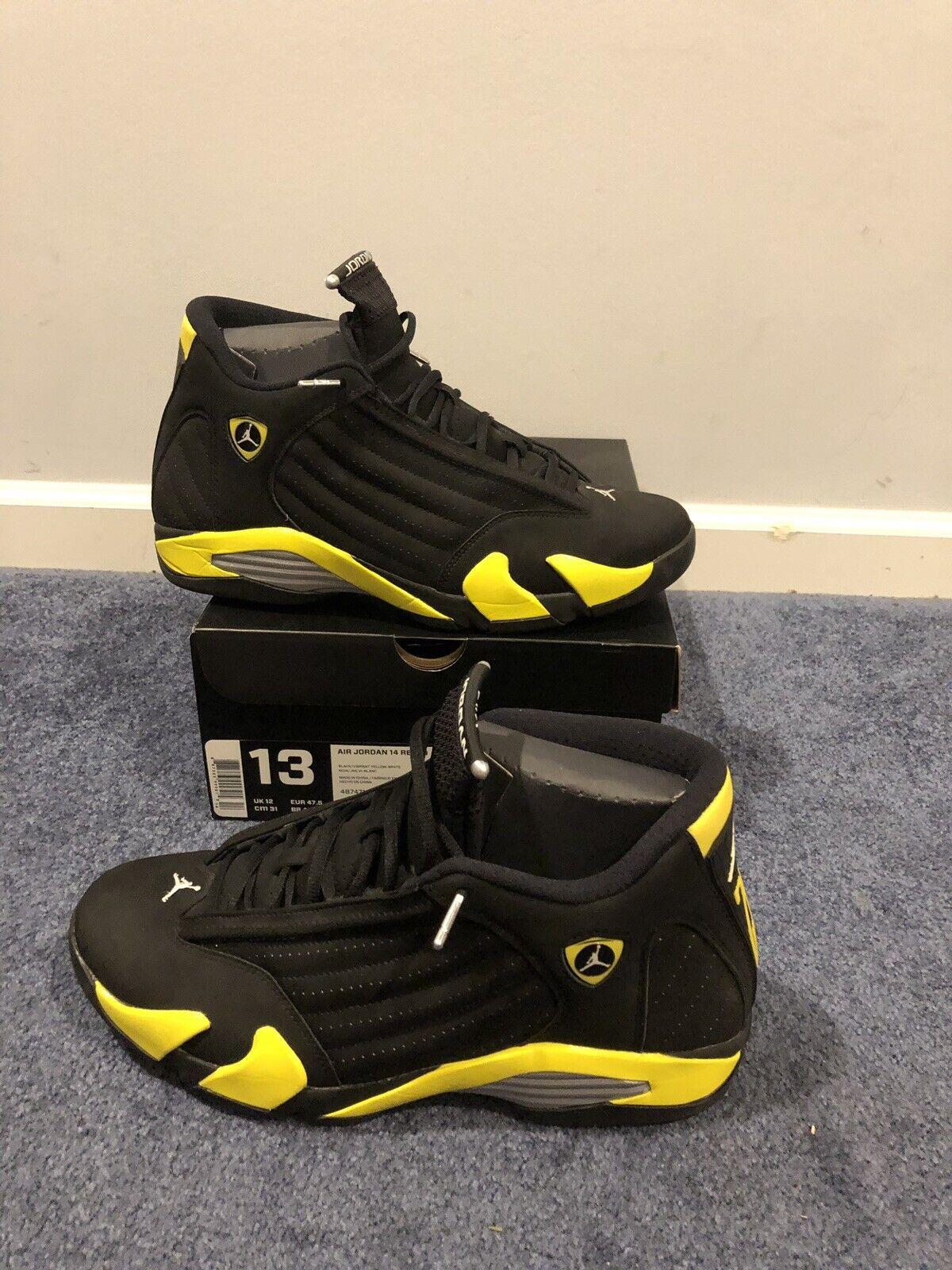 quality design aabae d08c3 Nike Air Jordan 14 Retro THUNDER Black Yellow White 487471-070 SIZE 13  W/RECEIPT