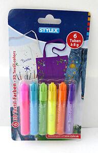 Textilfarben-6-Stueck-Farben-3D-6-Tuben-a-8gramm-Stylex