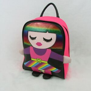 Betsey-Johnson-Small-Backpack-Pink-Rainbow-Sparkle-Girl-Design-88-LBMINDY-Neon