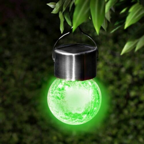 G19 Crackle Ball Beautiful Solar Hanging LED Lights in Your Garden Brand New 3pk