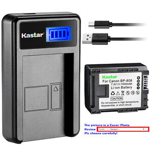 Kastar-Battery-LCD-USB-Charger-for-Canon-BP-808-amp-Canon-VIXIA-HF200-VIXIA-HG20