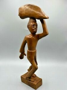 """Carved Wooden Man Statue Primitive Carrying a Bag on his head 16"""" tall Thai?"""