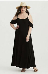 Torrid-Size-3-Black-Jersey-Knit-Surplice-Cold-Shoulder-Trapeze-Maxi-Dress-3x-XXL
