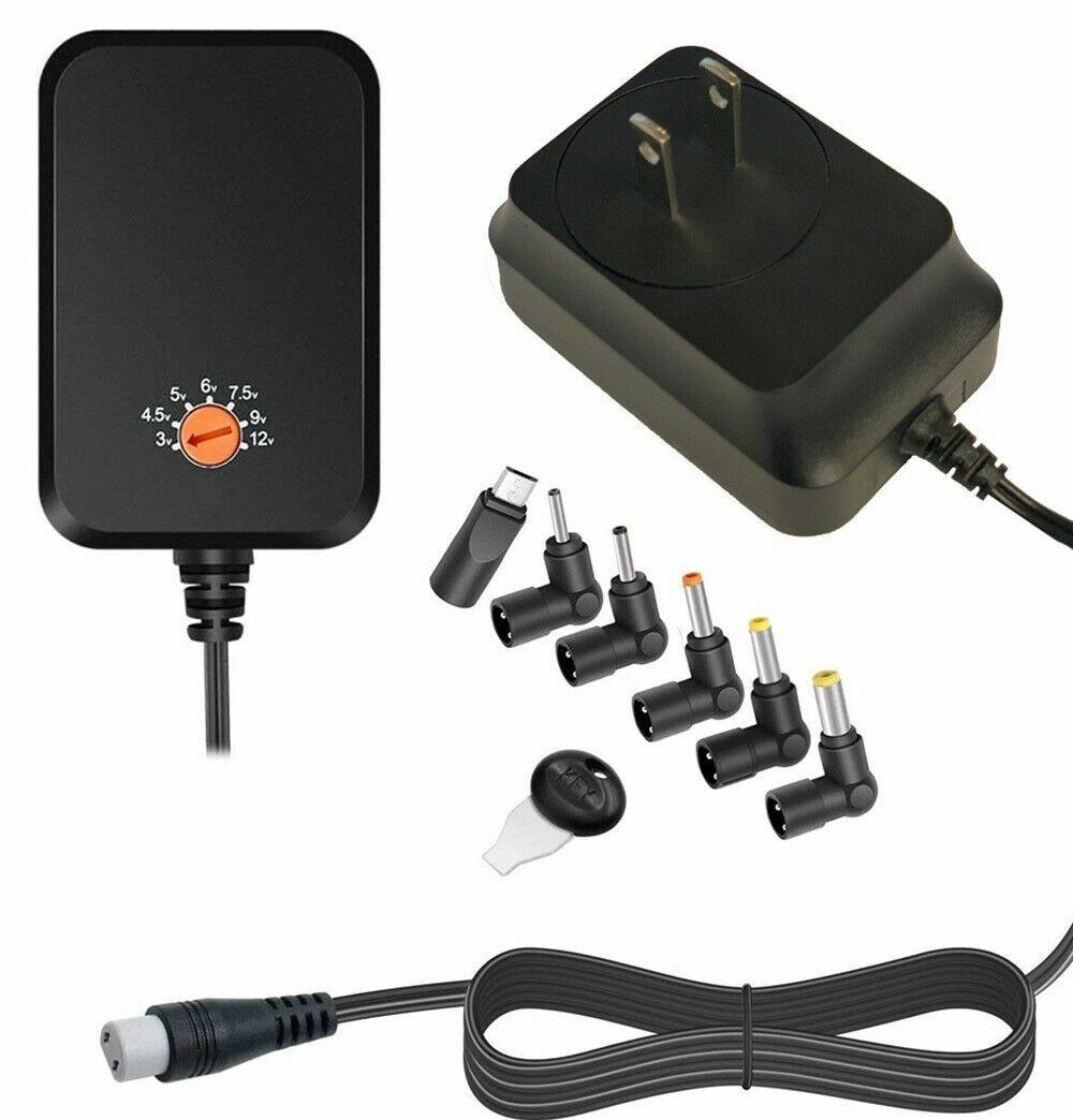 Universal 18W Supply Power Cord Charger 6-tips Input 100V-240V DC Output 3V-12V